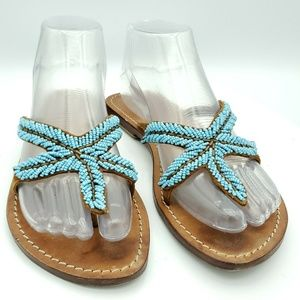 Mystique Beaded Starfish Flip Flop Leather Sandals